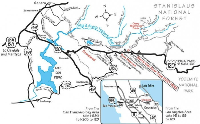 Map to meeting spot for Cherry Creek/Upper Tuolumne rafting trips