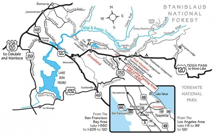 Map to meeting spot for Main Tuolumne trips