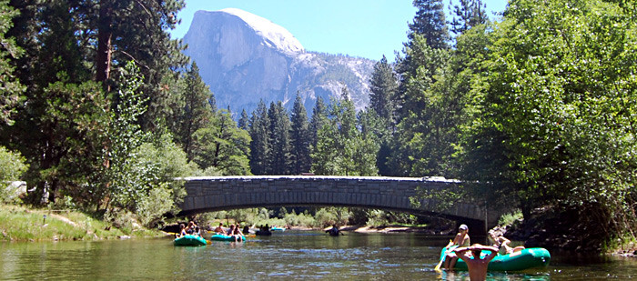 Rafting float trip in Yosemite Valley