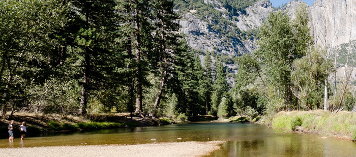 Scenic view from river on Yosemite Float trip