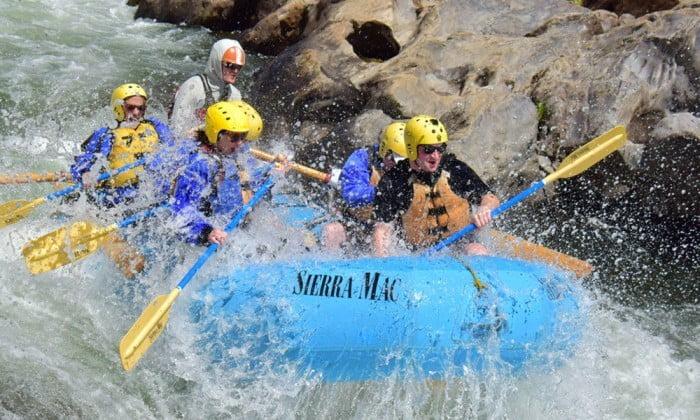 Wet fun rafting the Tuolumne River near Yosemite
