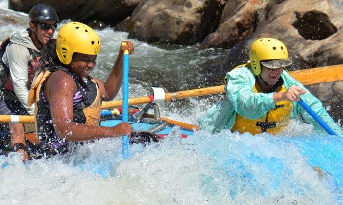 Mother and daughter enjoy rafting trip near Yosemite