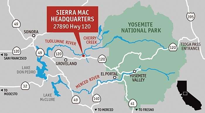Yosemite river rafting map, Cherry Creek, Merced and Tuolumne rivers.