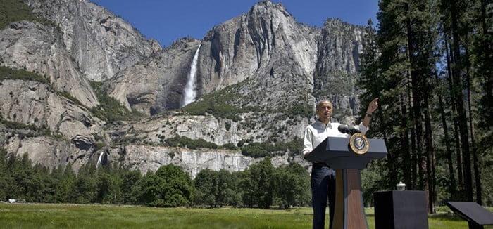 President Obama speaking in Yosemite Valley