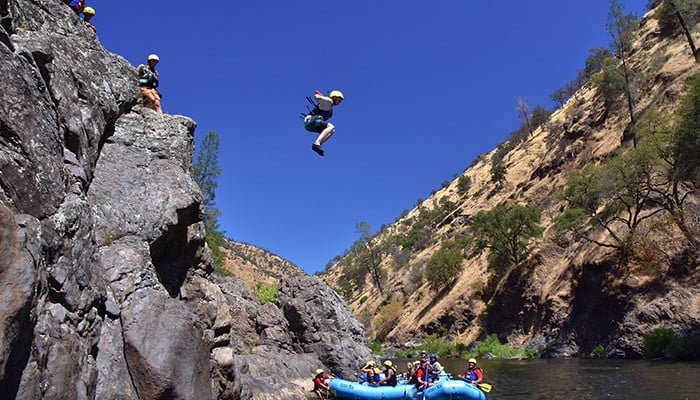 Jumping into the Tuolumne River