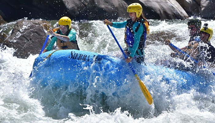 whitewater rafting thrills on the Tuolumne River nea Yosemite
