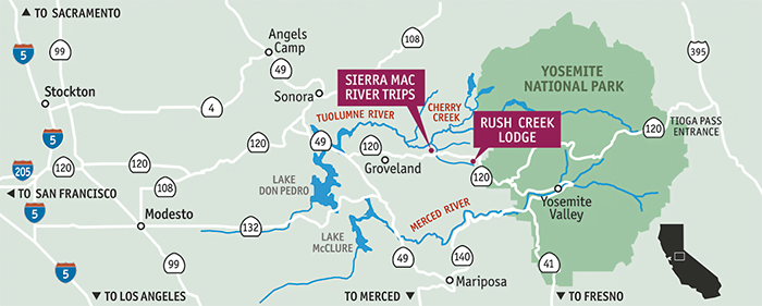 Rush Creek Lodge at Yosemite - Sierra Mac River Trips on big sur lodge map, white wolf lodge map, willows lodge map, kings canyon lodge map, grand canyon lodge map, crater lake lodge map, bishop creek lodge map, willow creek map, tahoe vista map, john muir lodge map, hershey lodge map, park map, bryce canyon lodge map, olympic lodge map, yellowstone lodge map, skamania lodge map, montebello map, north star lodge map, sun valley lodge map, echo lodge map,