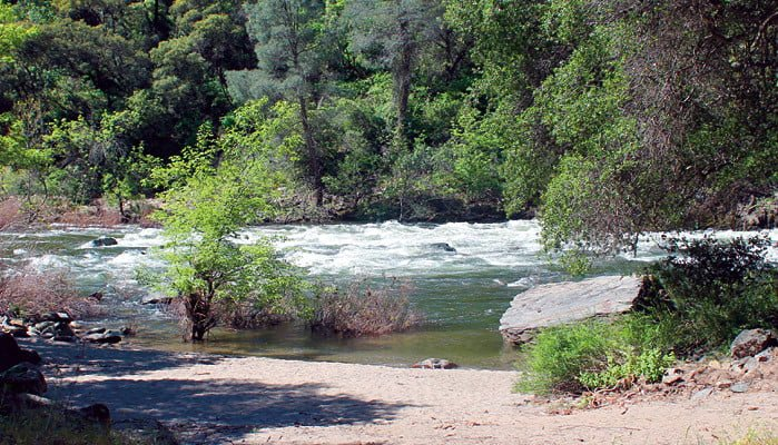 Beach at campground on Merced River