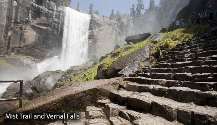 View of Vernal Falls from Mist Trail in Yosemite