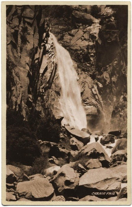 Vintage image of Cascade Falls in Yosemite