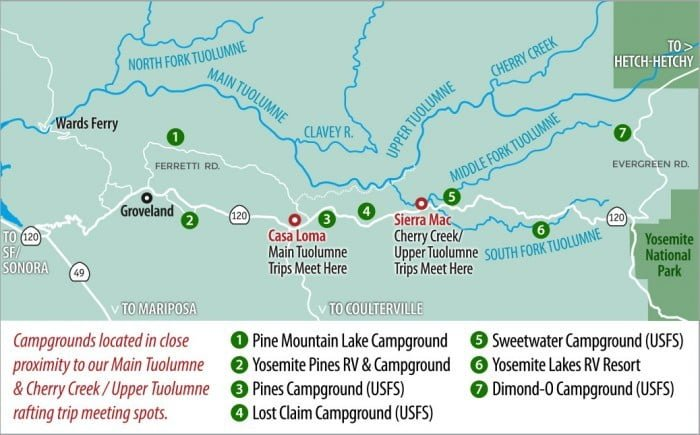Map showing campgrounds in proximity to Tuolumne River