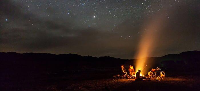 Night camping on the Tuolumne River near Yosemite
