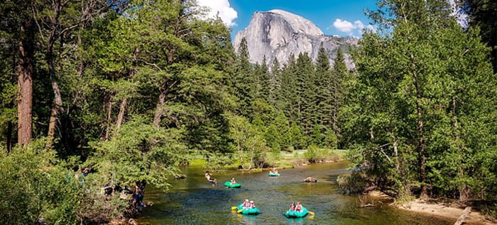 Floating on rafts through Yosemite Valley