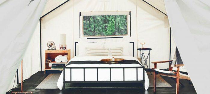 Glamping tent near Yosemite